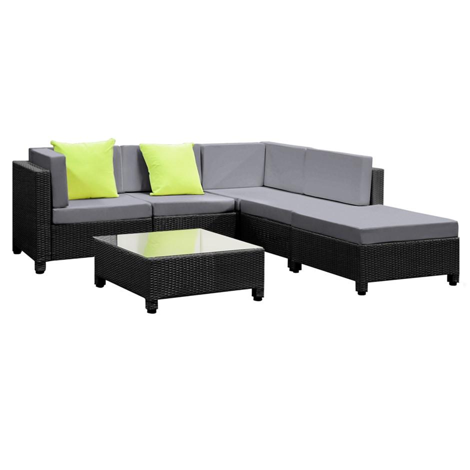 6 Pcs Black Wicker Rattan 5 Seater Outdoor Furniture