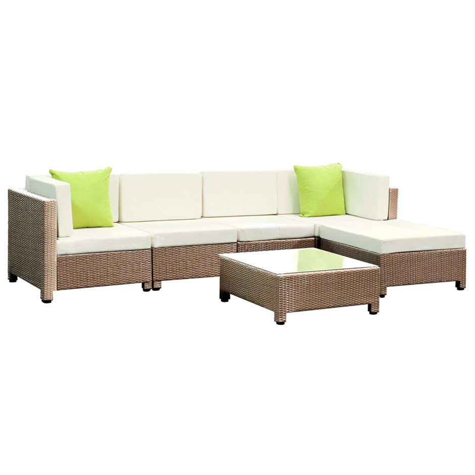 Gardeon 6 Piece Outdoor Wicker Sofa Set - Brown