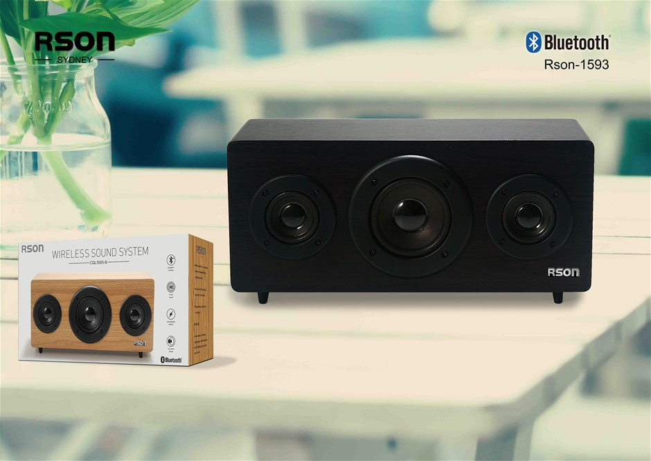 Rson 2.1 Old School Black Wooden Bluetooth Speaker (1593)