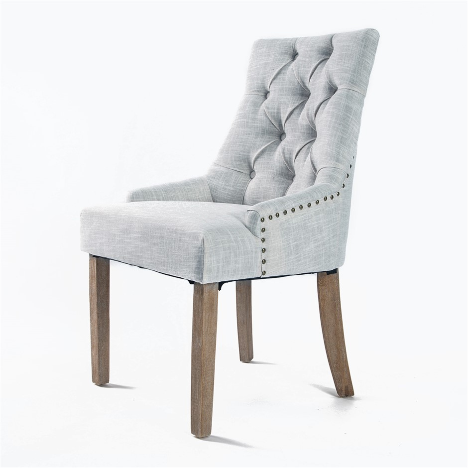 French Provincial Oak Leg Chair AMOUR - GREY
