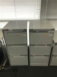 2 X Elite Built 3 Drawer Metal Filing Ca