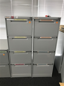 2 X Elite Built 4 Drawer Metal Filing Ca