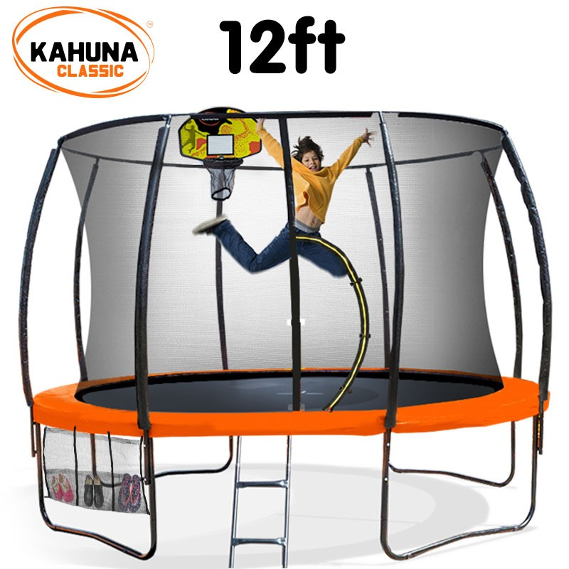 Kahuna Trampoline 12 ft - Orange with Basketball Set