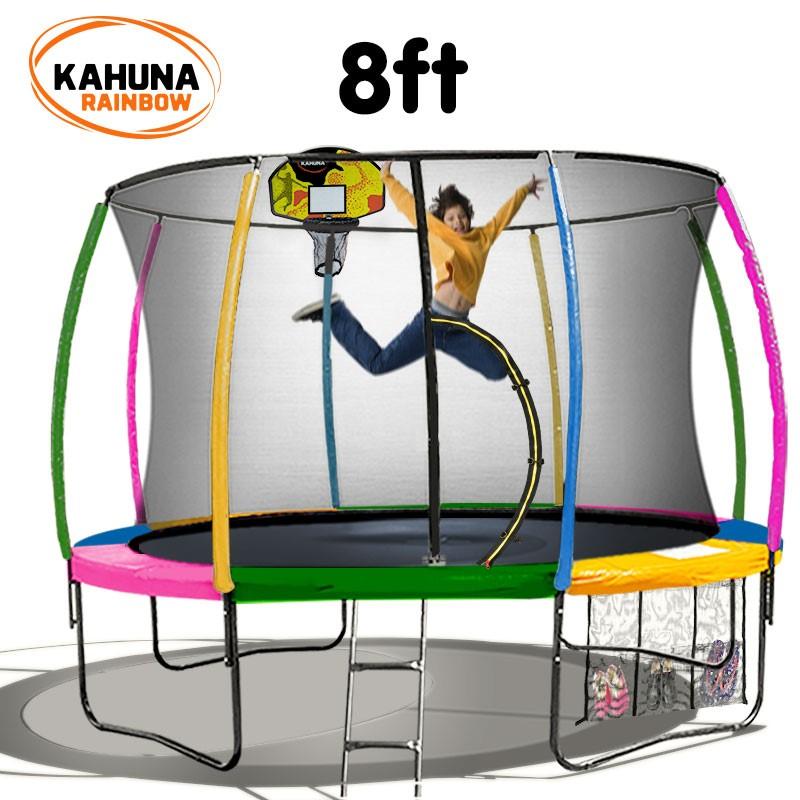 Kahuna Trampoline 8 ft - Rainbow with Basketball Set