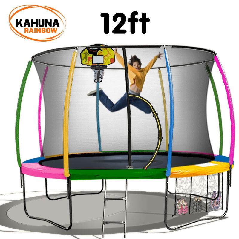 Kahuna Trampoline 12 ft - Rainbow with Basketball Set