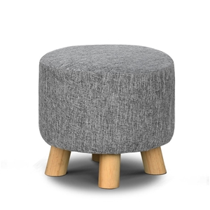 Artiss Fabric Round Ottoman - Grey