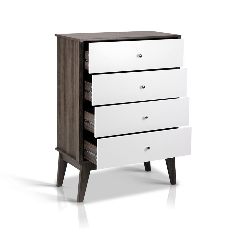 Artiss 4 Chest of Drawers Storage Cabinet - White