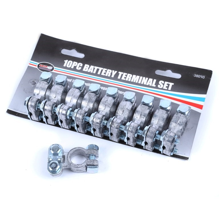 GRIP 10pc Battery Terminal Set, Fits 6 & 12V Positive or Negative Battery P