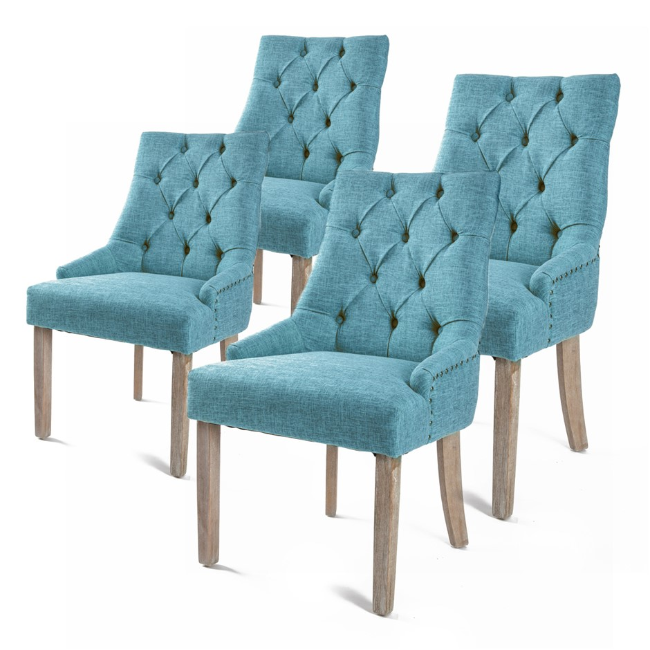 4X French Provincial Oak Leg Chair AMOUR - BLUE