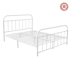 Artiss Queen Size Metal Bed Frame - Whit