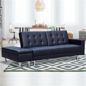 Prime 3 Seater Faux Leather Sofa Bed Couch With Ottoman Black Spiritservingveterans Wood Chair Design Ideas Spiritservingveteransorg