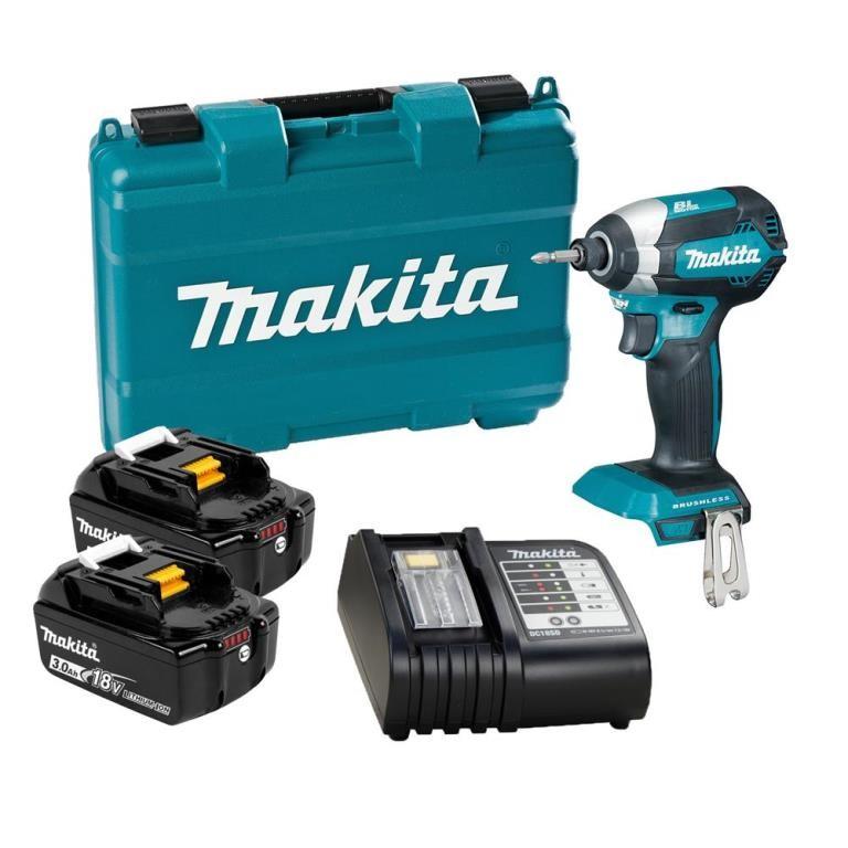 MAKITA 18V Brushless Impact Driver Kit c/w 2 x 3.0Ah Batteries, Charger & B