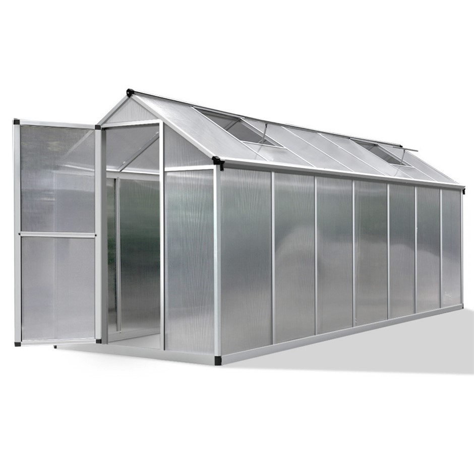 Green Fingers 4.2 x 1.9m Polycarbonate Aluminium Green House