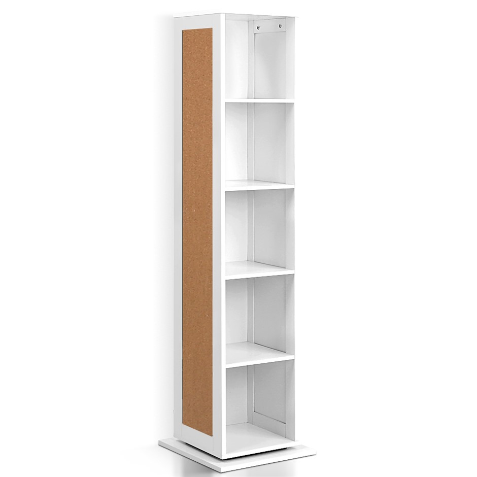 Artiss 5 Shelf Rotating Cabinet Storage Shoe Rack - White