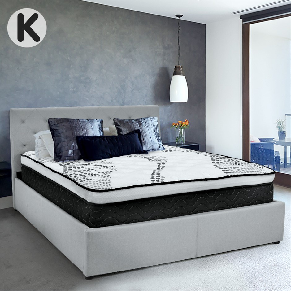 King Fabric Gas Lift Bed Frame with Headboard - Grey
