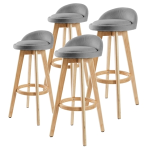 4x Oak Wood Bar Stool 72cm Fabric LEILA