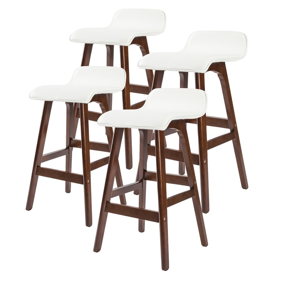 4x Oak Wood Bar Stool 65cm Leather SOPHIA - WHITE BROWN