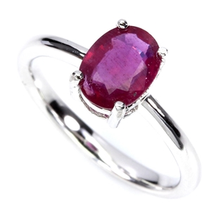 Solid Sterling Silver Genuine Ruby Ring.