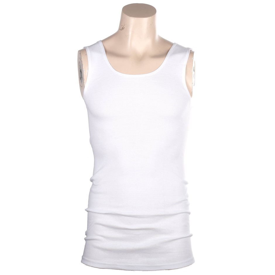 4 x Ribbed Cotton White Singlets Size S, Side Seamfree. Buyers Note - Disco