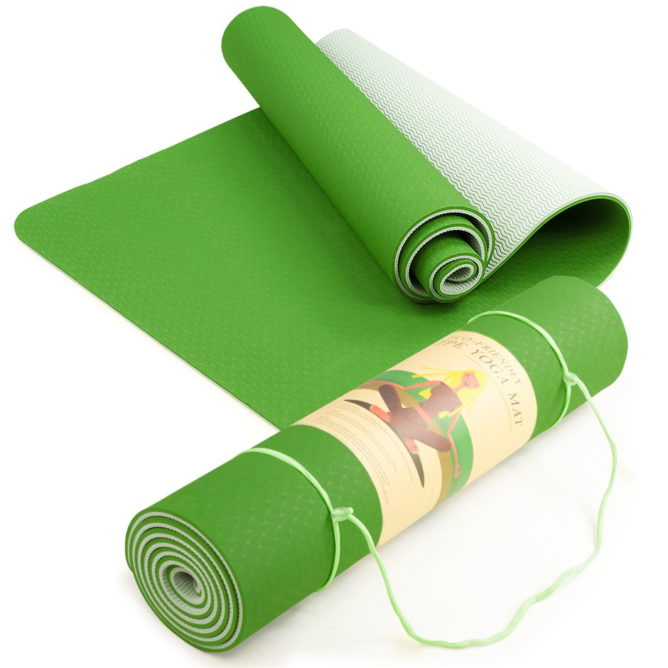 Powertrain Eco Friendly TPE Yoga Exercise Mat - Green