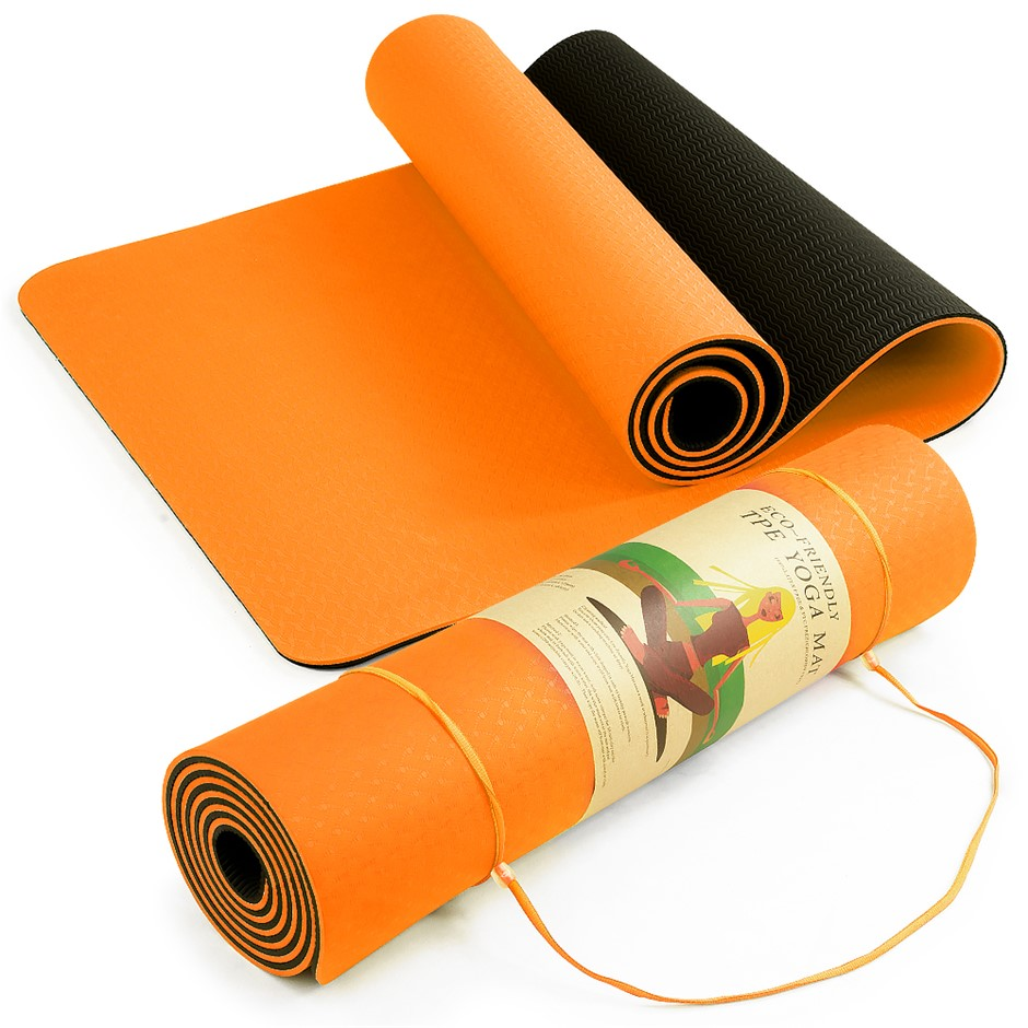 Powertrain Eco Friendly TPE Yoga Exercise Mat - Orange
