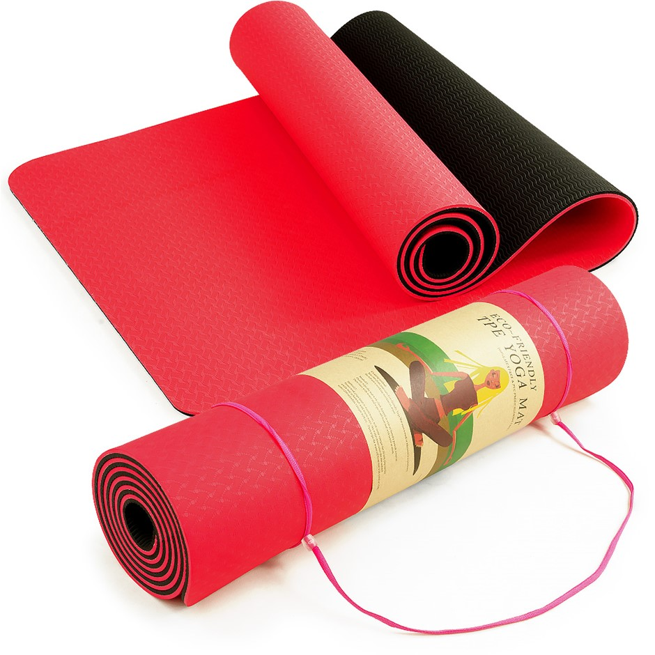 Powertrain Eco Friendly TPE Yoga Exercise Mat - Red