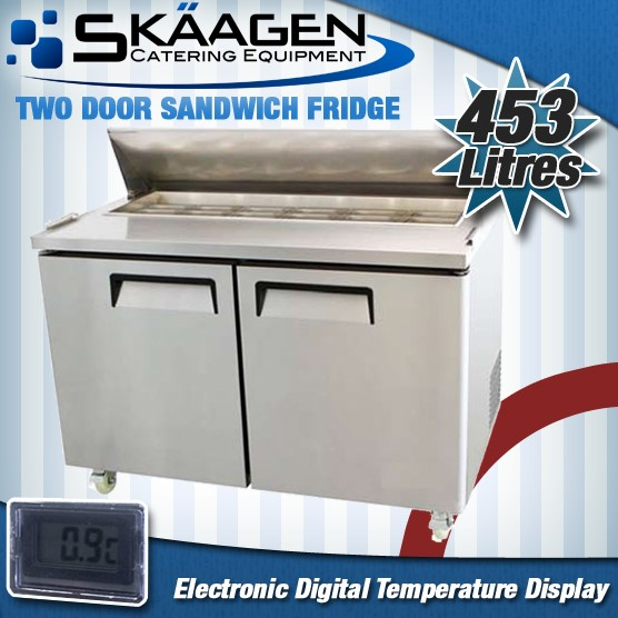 Unused Two Door Sandwich Prep Fridge USS02-SS