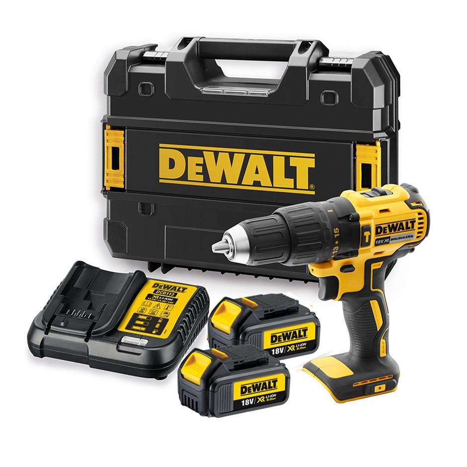 DeWALT 18V Brushless Speed Hammer Drill Kit c/w 2 x 3.0Ah Batteries & Charg