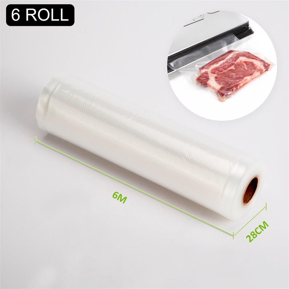 6x Vacuum Food Sealer Roll - 6m x 28cm