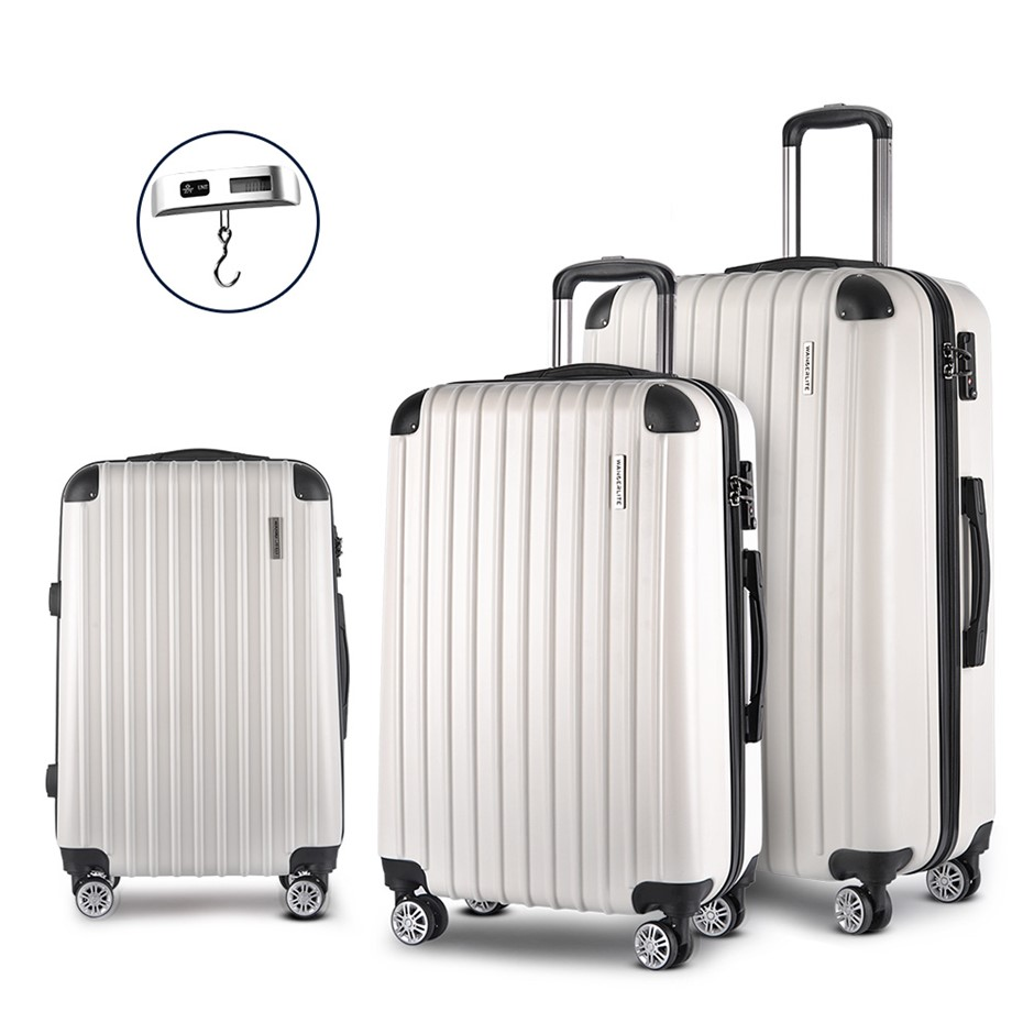 Wanderlite 3 Piece Lightweight Hard Suit Case - White
