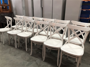Superb 12 X White Cross Back French Provincial Style Dining Chairs Usual Wear A Ibusinesslaw Wood Chair Design Ideas Ibusinesslaworg