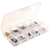100 x Fishing Cross Lock Snap Swivels, Assorted Sizes in Clear Plastic Divi