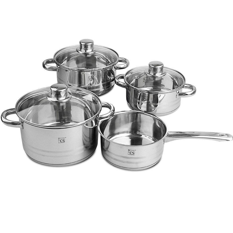 Belm 7pcs SS Cookware Set Pot Saucepan Casserole w/ Glass Lid