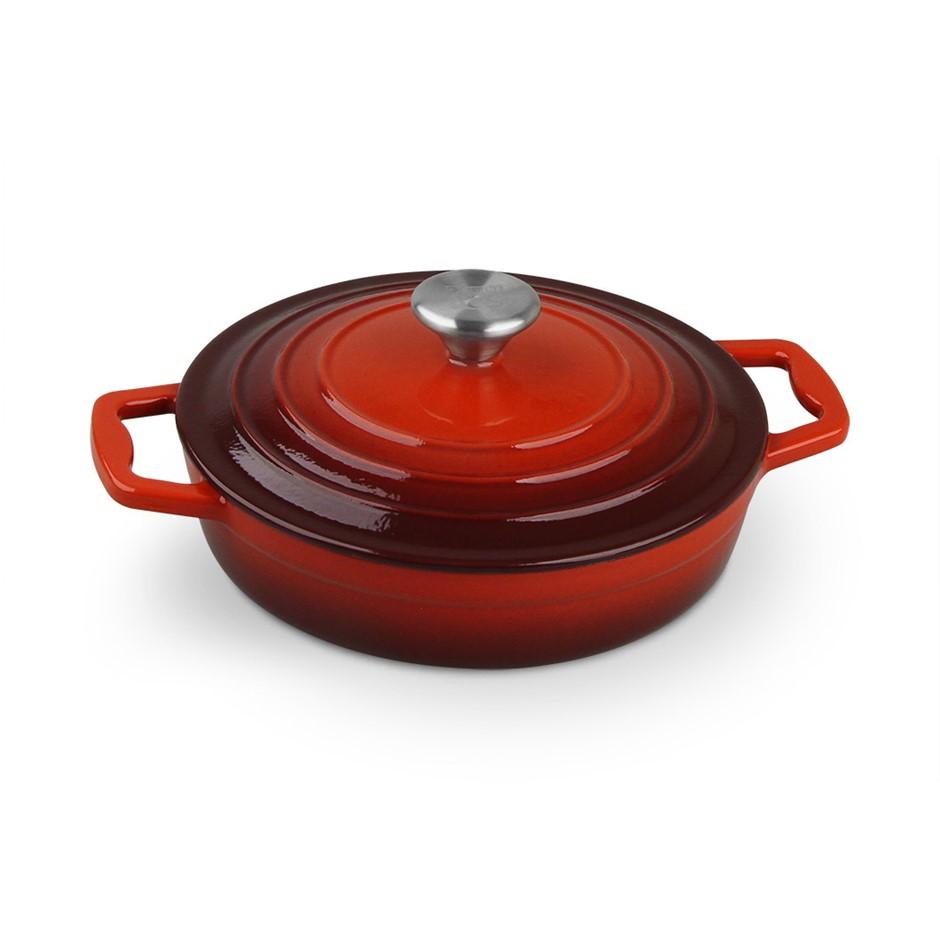 Xanten 22cm Cast Iron Casserole Stockpot Lid Dish Dutch Oven Cook Round