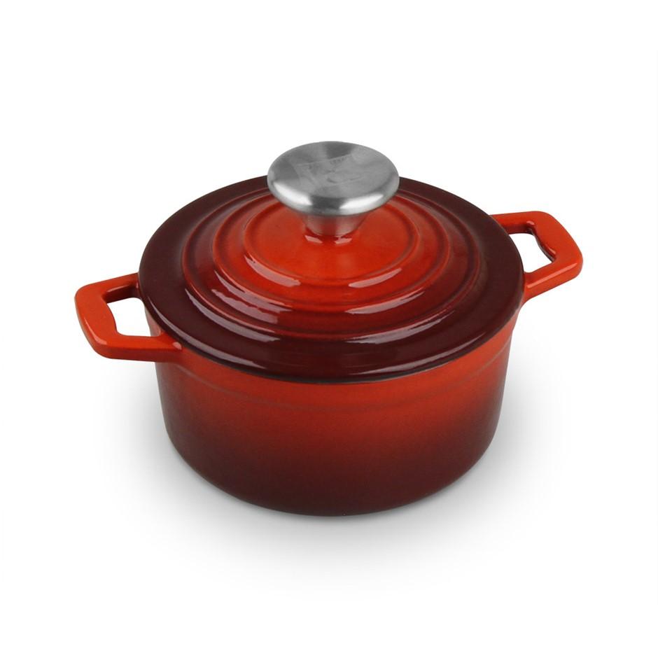 Xanten 25cm Cast Iron Casserole Stockpot Lid Dish Dutch Oven Cook Round