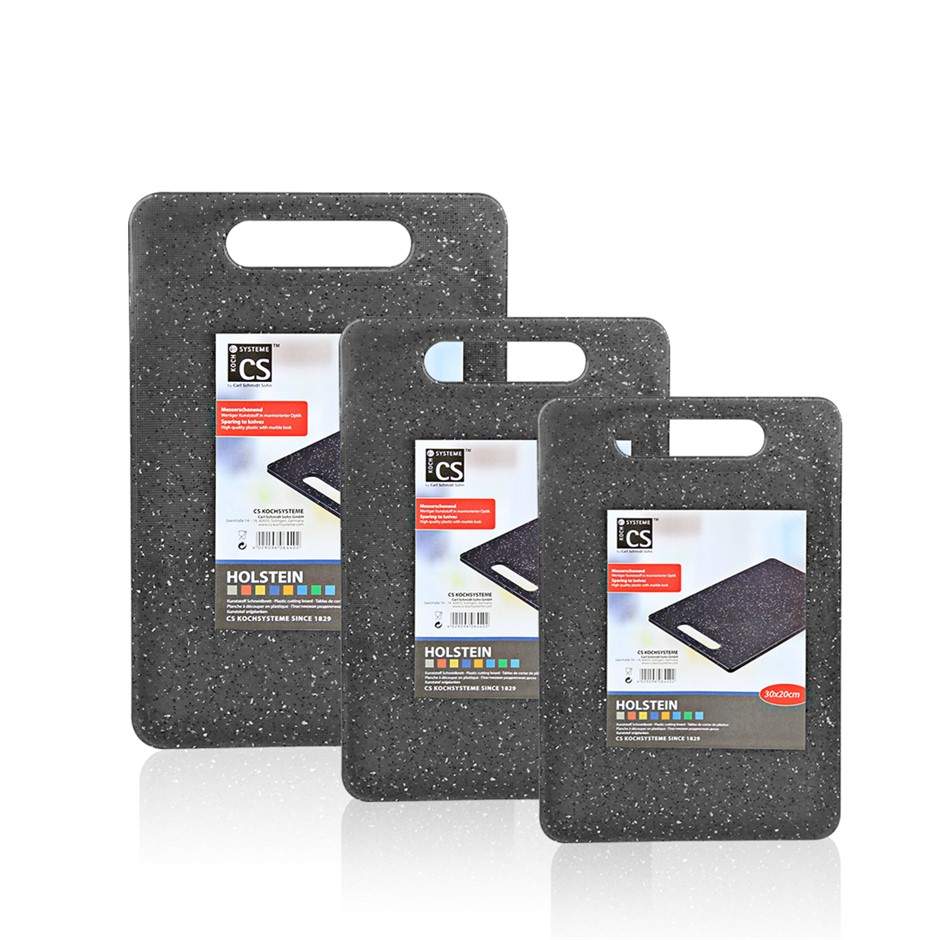 Set of 3 Black High Density Marble look Plastic Chopping Board