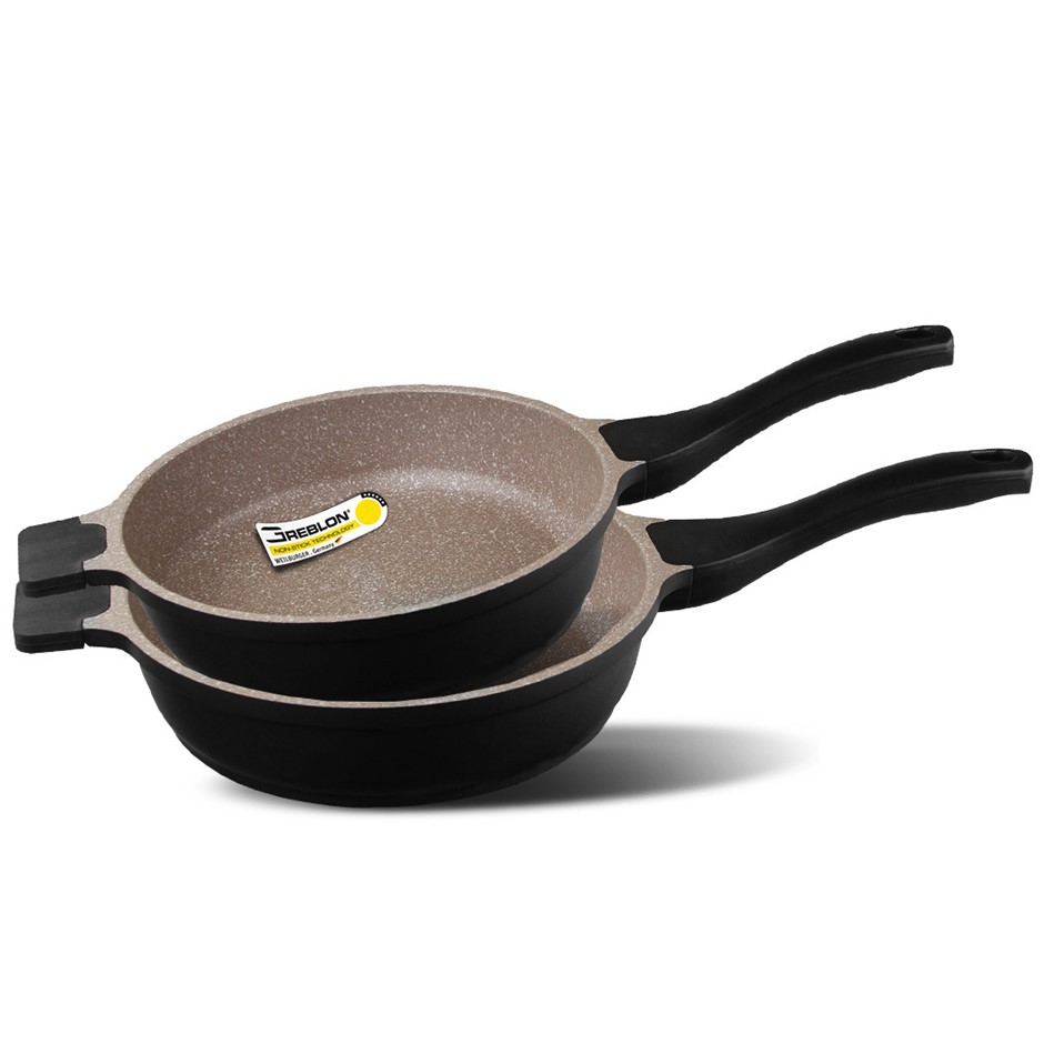 K2 2pc Ceramic Stone Deep Frying Pan Cookware