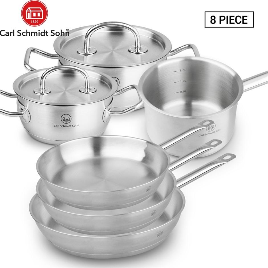 Pro-X 8pcs Stainless Steel Cookware Casserole Saucepan Pot Lid Frying Pan