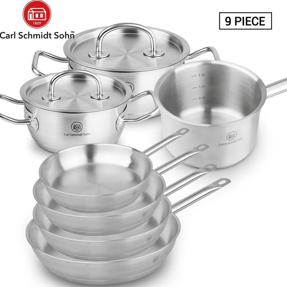 Pro-X 9pcs SS Cookware Set Casserole Pot Lid Frying Pan Saucepan