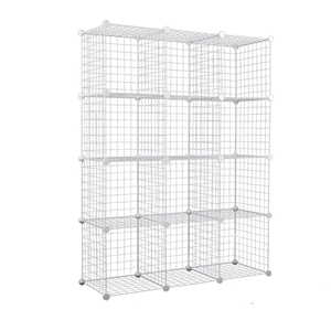 12 Cube Metal Wire Storage Cabinet - Whi