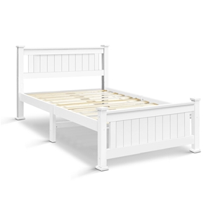 Artiss King Single Wooden Bed Frame - Wh
