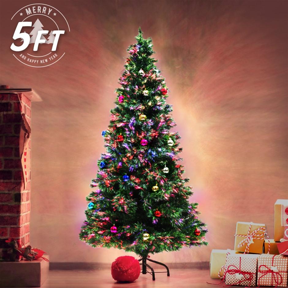 5Ft 150cm Fibre Optic LED Christmas Tree - BAUBLES MULTI COLOUR