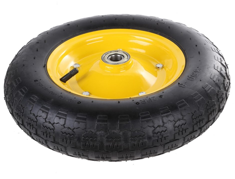 2 x Pneumatic Rubber Tyre Wheels 14ins with Ball Bearings. Buyers Note - Di