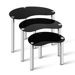 Artiss Set Of 3 Glass Coffee Tables - Bl