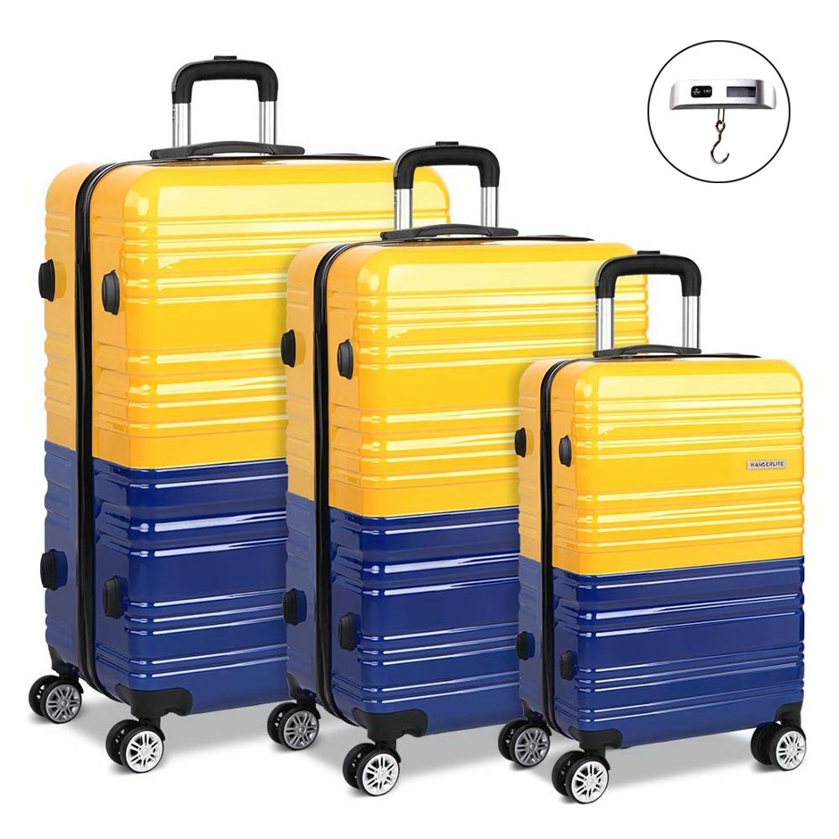 Wanderlite 3 Piece Lightweight Hard Suit Case - Yellow & Purple
