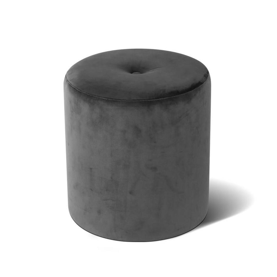 Artiss Round Velvet Ottoman - Grey