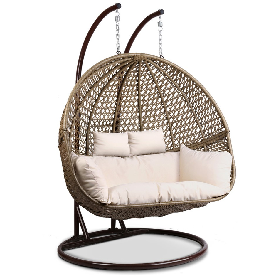 Gardeon Outdoor Double Hanging Swing Chair Brown