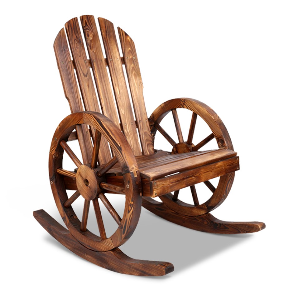 Gardeon Wagon Wheels Chair - Brown
