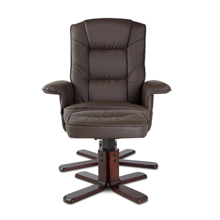 Buy PU Leather Wood Armchair Recliner - Chocolate ...