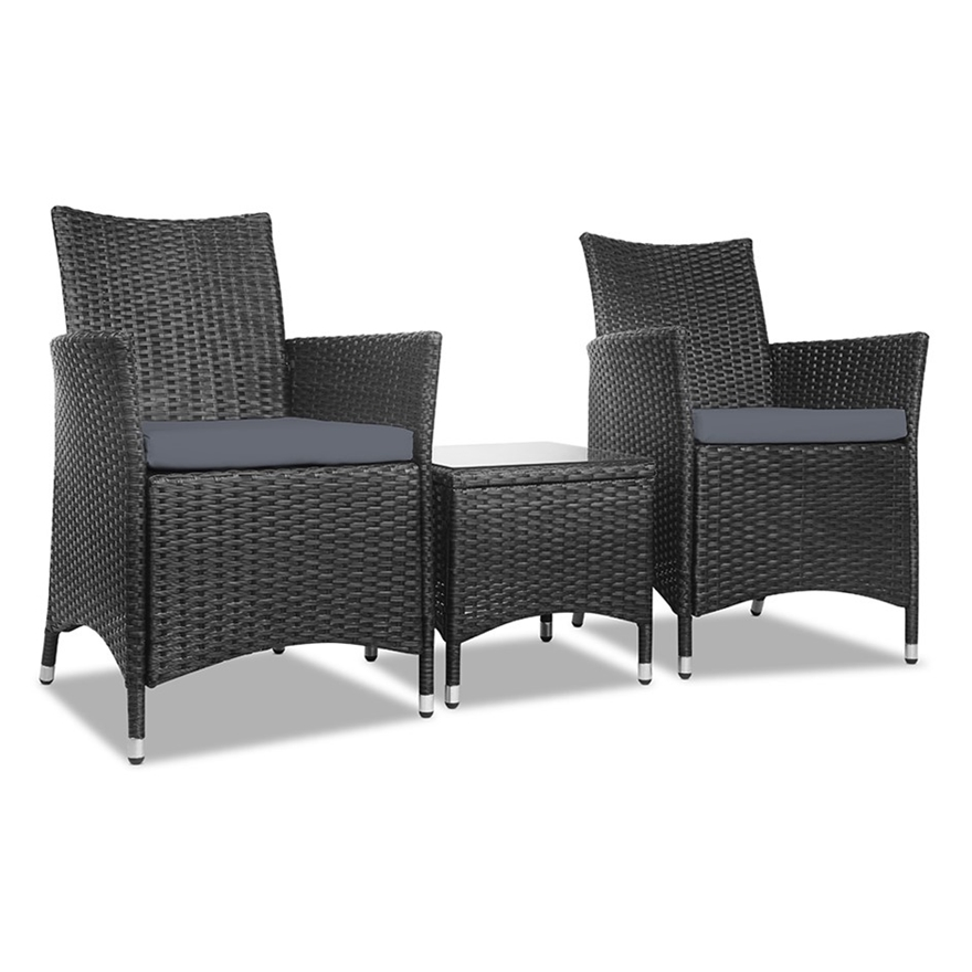 Gardeon 3 Piece Wicker Outdoor, Black Wicker Outdoor Furniture Sets